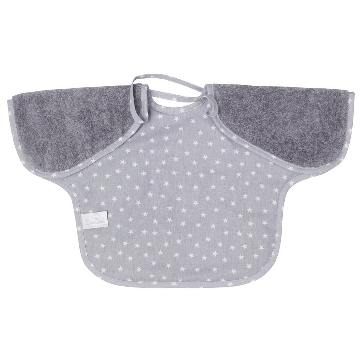 Bavoir bébé à manches doublé  Galet 24x36 cm