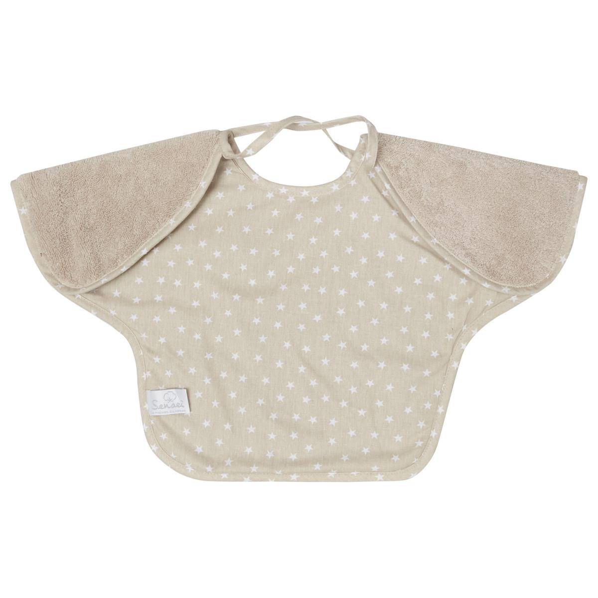 Bavoir bébé à manches doublé  Sable 24x36 cm