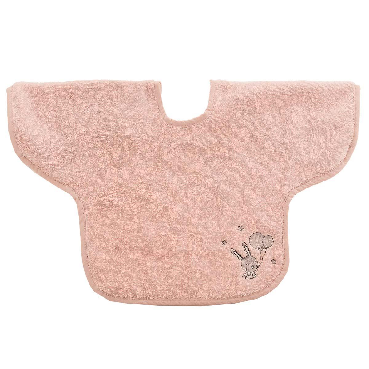 Bavoir à manches en coton peigné  Rose Poudre 24x36 cm