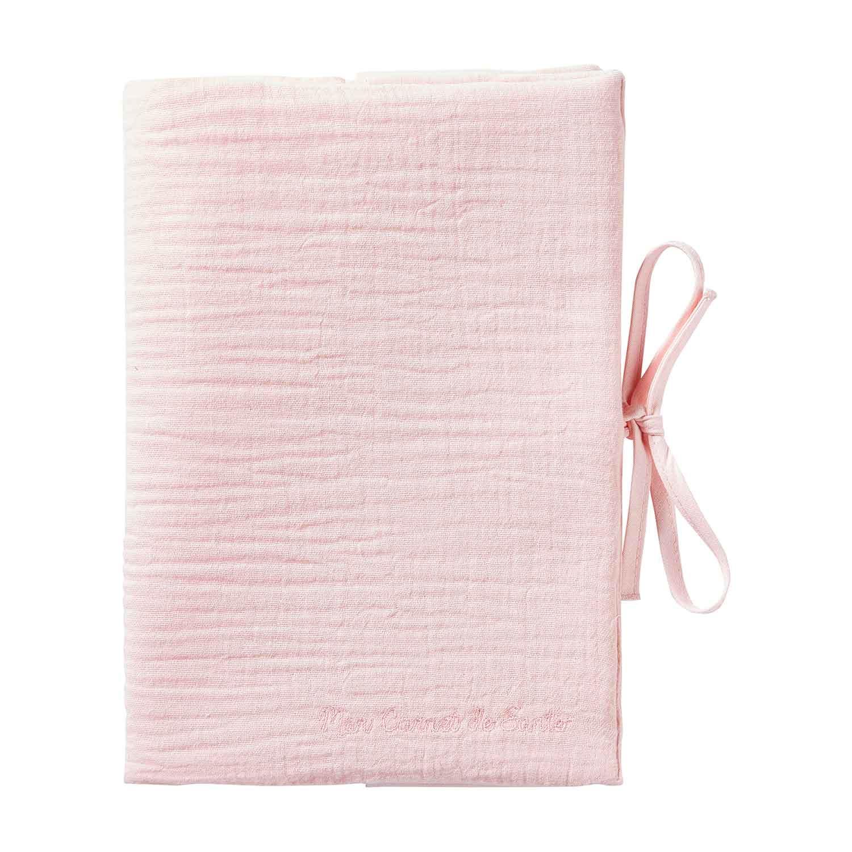 Protège carnet de santé bébé en double gaze de coton rose pâle