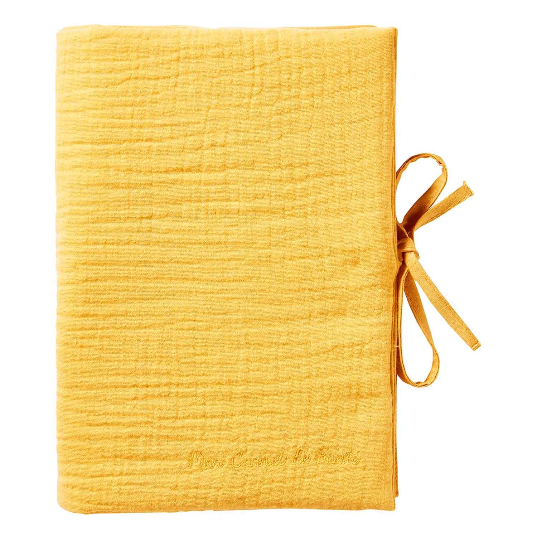 Protège carnet de santé bébé en double gaze de coton moutarde