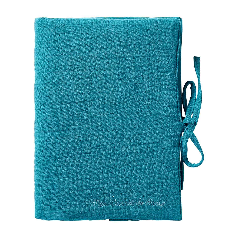 Protège carnet de santé bébé en double gaze de coton vert paon