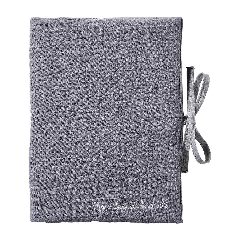 Protège carnet de santé bébé en double gaze de coton gris