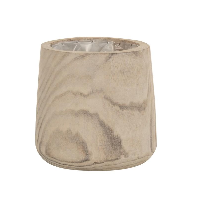 Cache-pot bois de paulownia + plastique H23cm