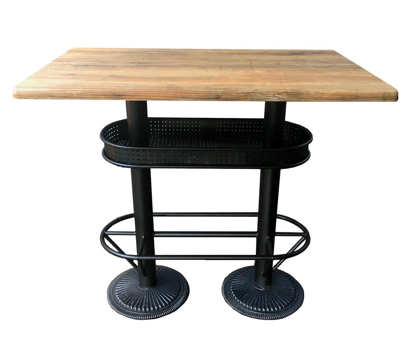 Table bistrot plateau effet bois vieilli L110