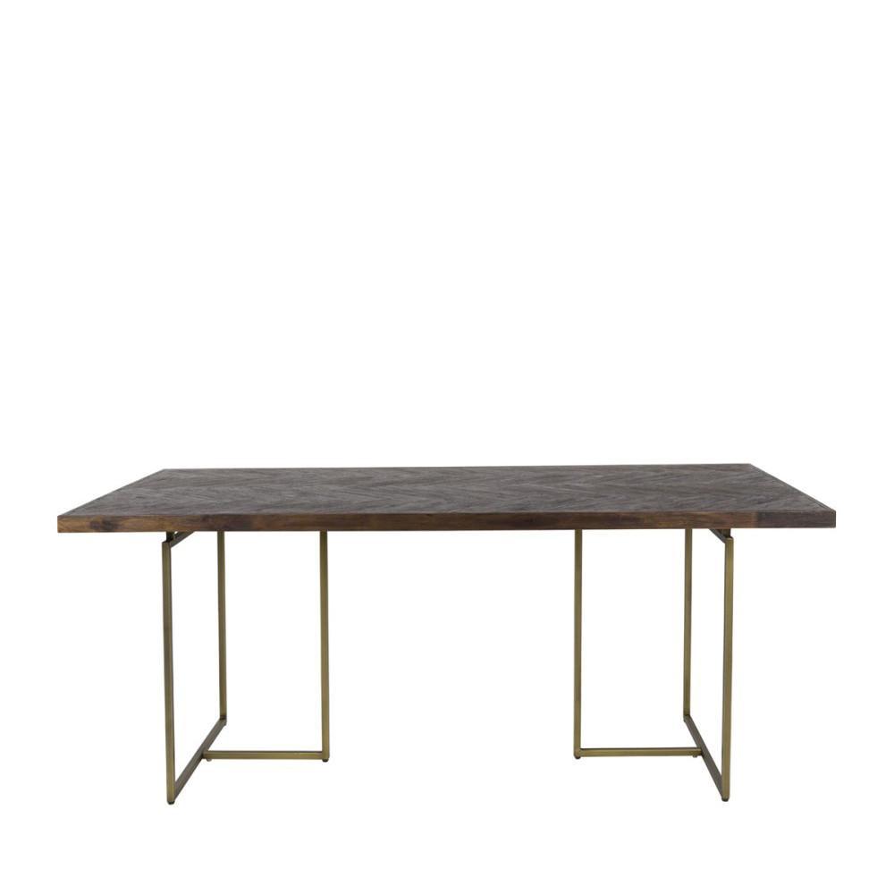 Table à manger chevrons bois et laiton 180x90 cm