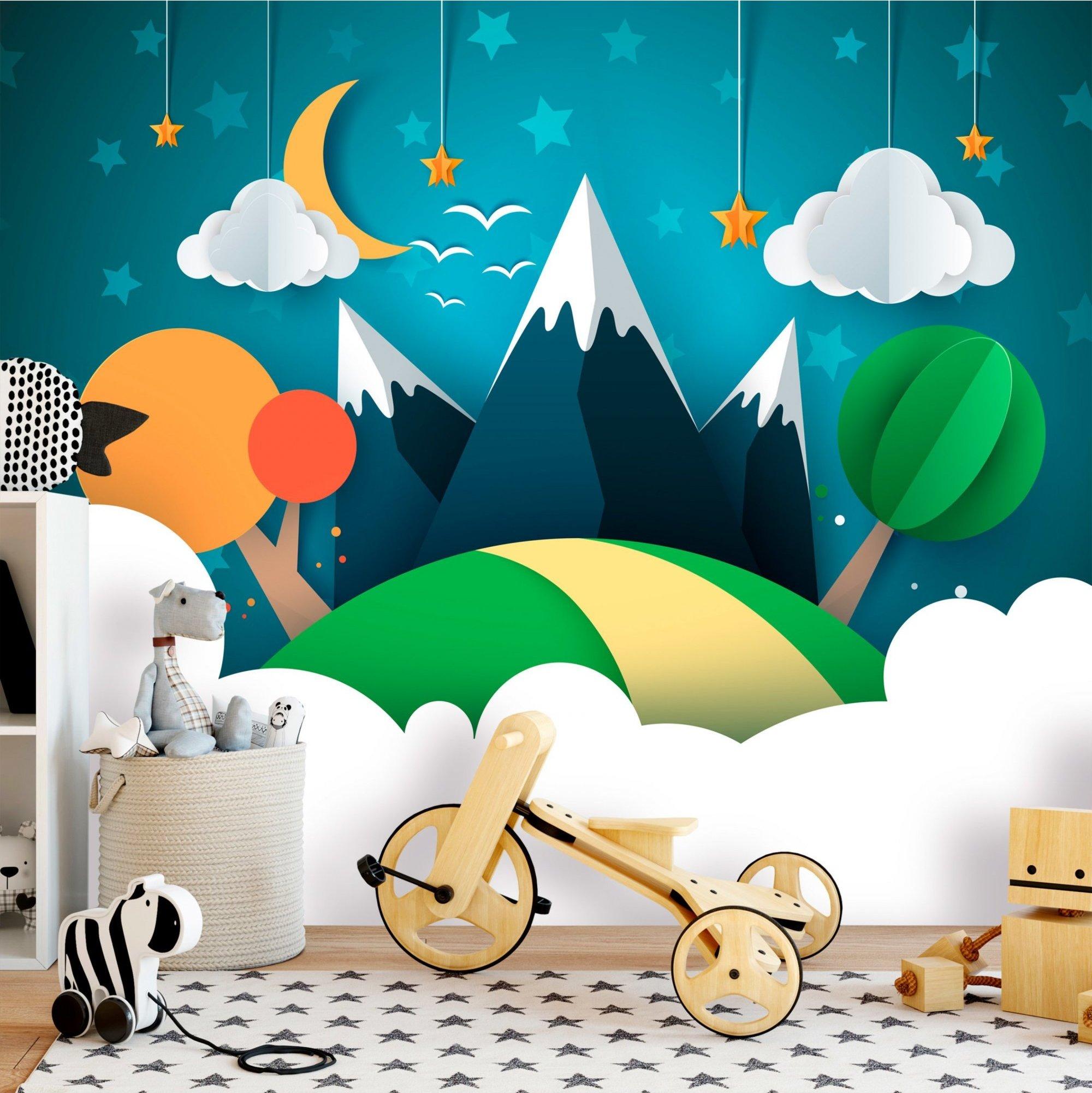 Papier peint enfant little traveller multicolore 100x70