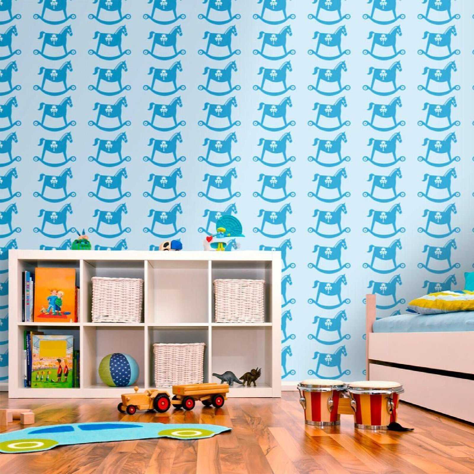 Papier peint enfant cheval à bascule motif bleu 350x270