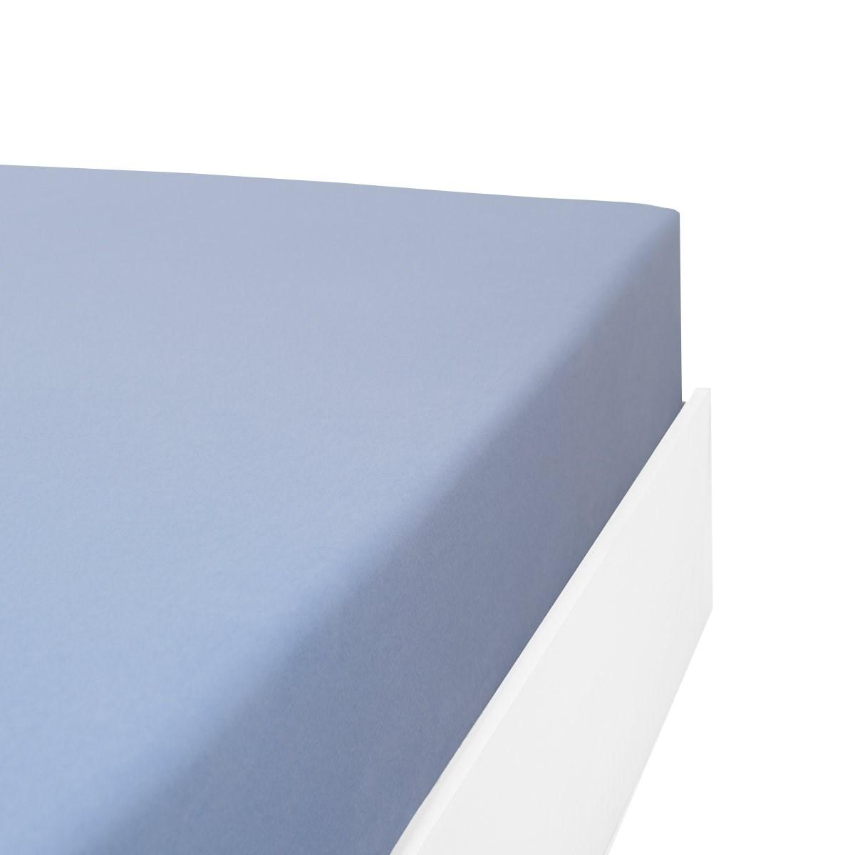 Drap housse flanelle en Molleton Bleu ciel 110x190 cm