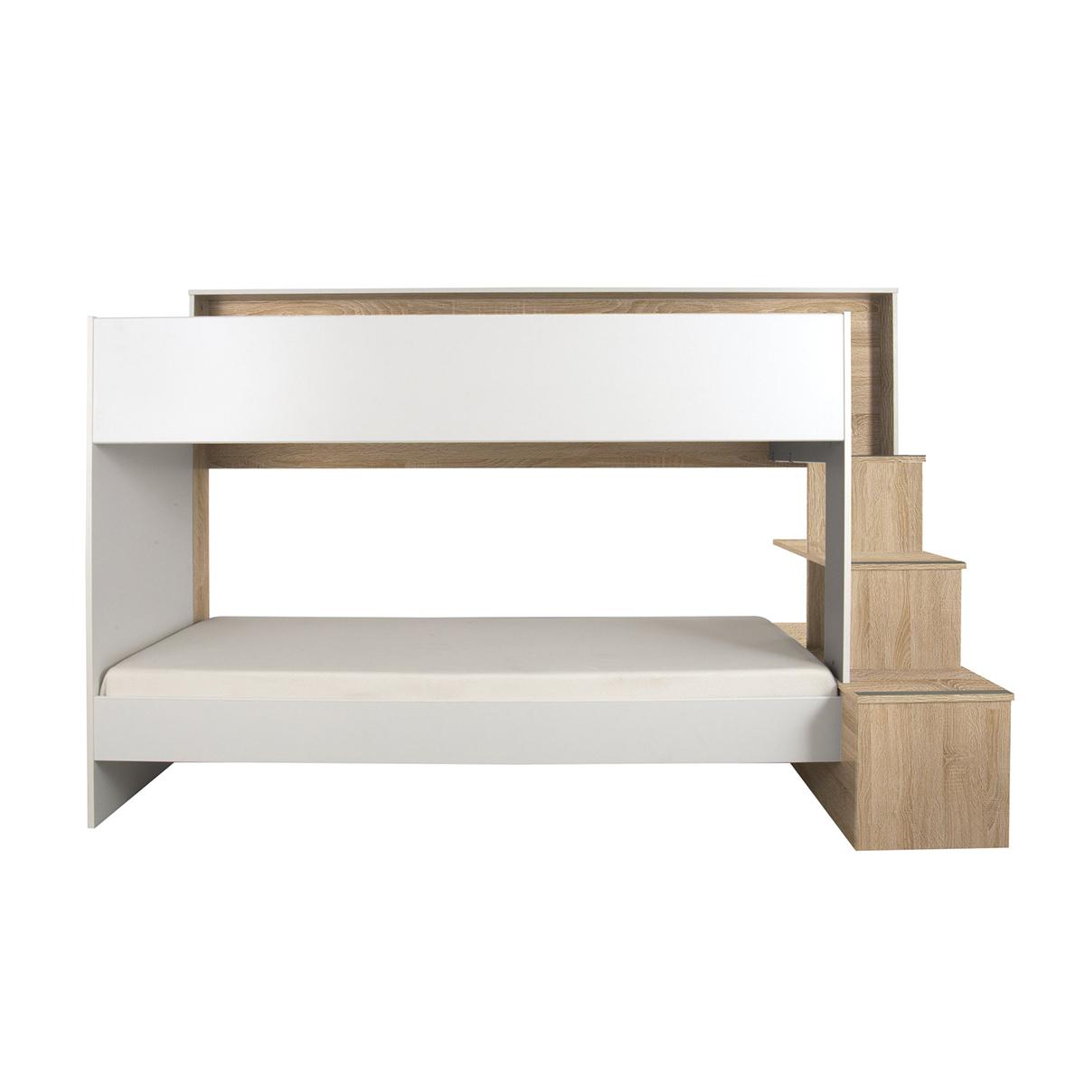 Lit superposé 90x200 blanc bois