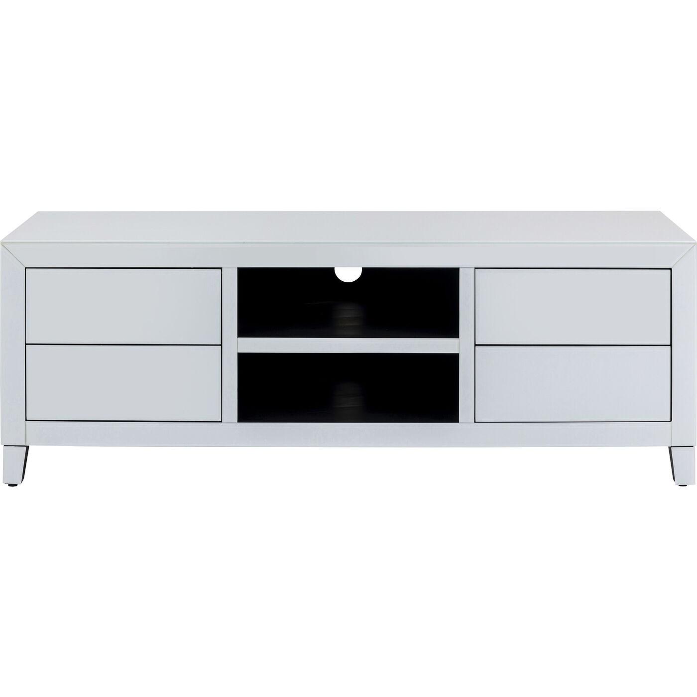 Meuble TV 4 tiroirs en miroir blanc