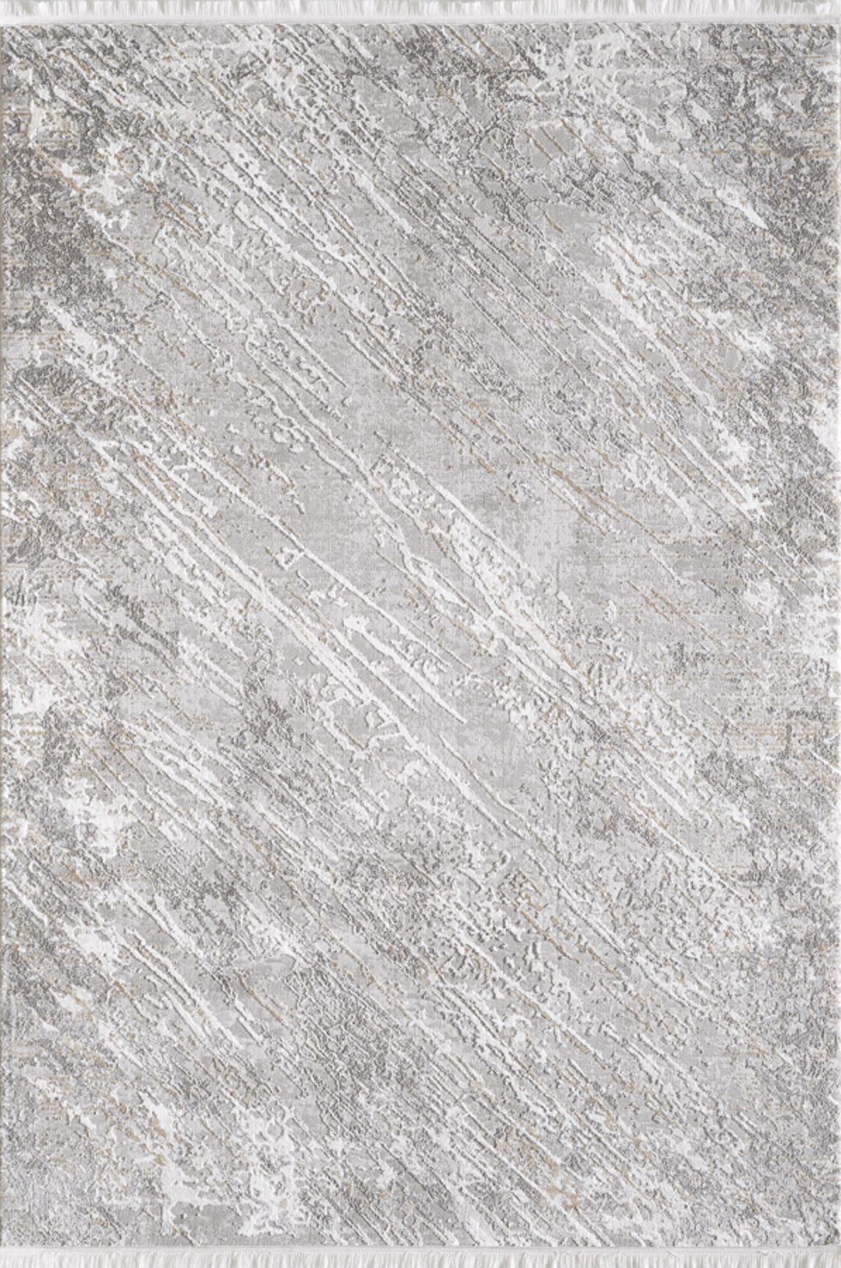 Tapis vintage motif abstrait avec franges beige 160x230cm