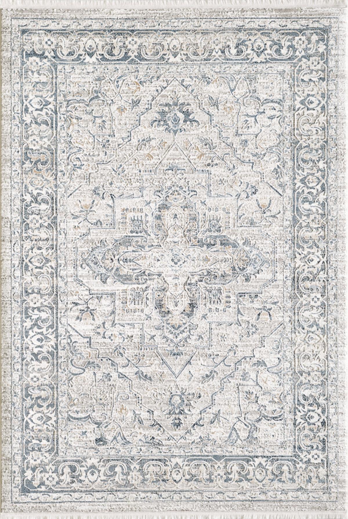 Tapis vintage motif d'antan avec franges bleu 120x170