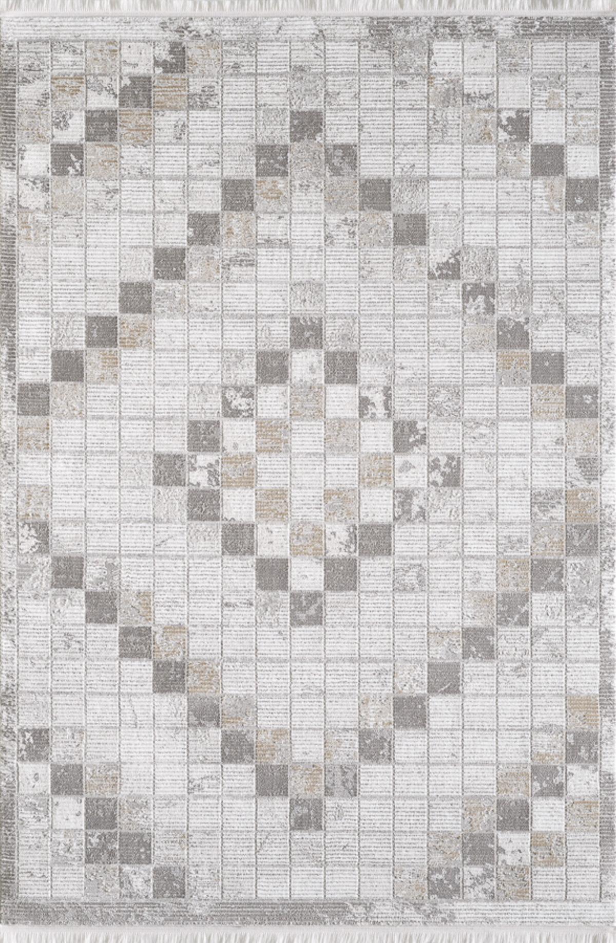 Tapis vintage motif géométriques  avec franges beige 120x170