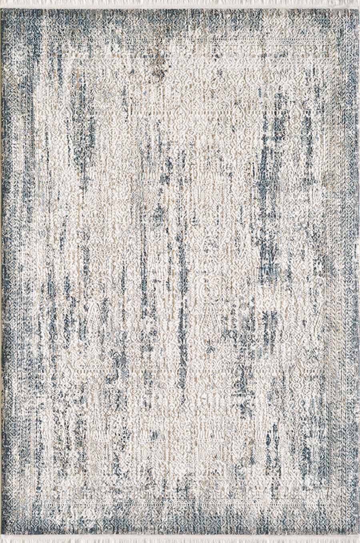 Tapis vintage motif abstrait à relief avec franges bleu 120x170cm