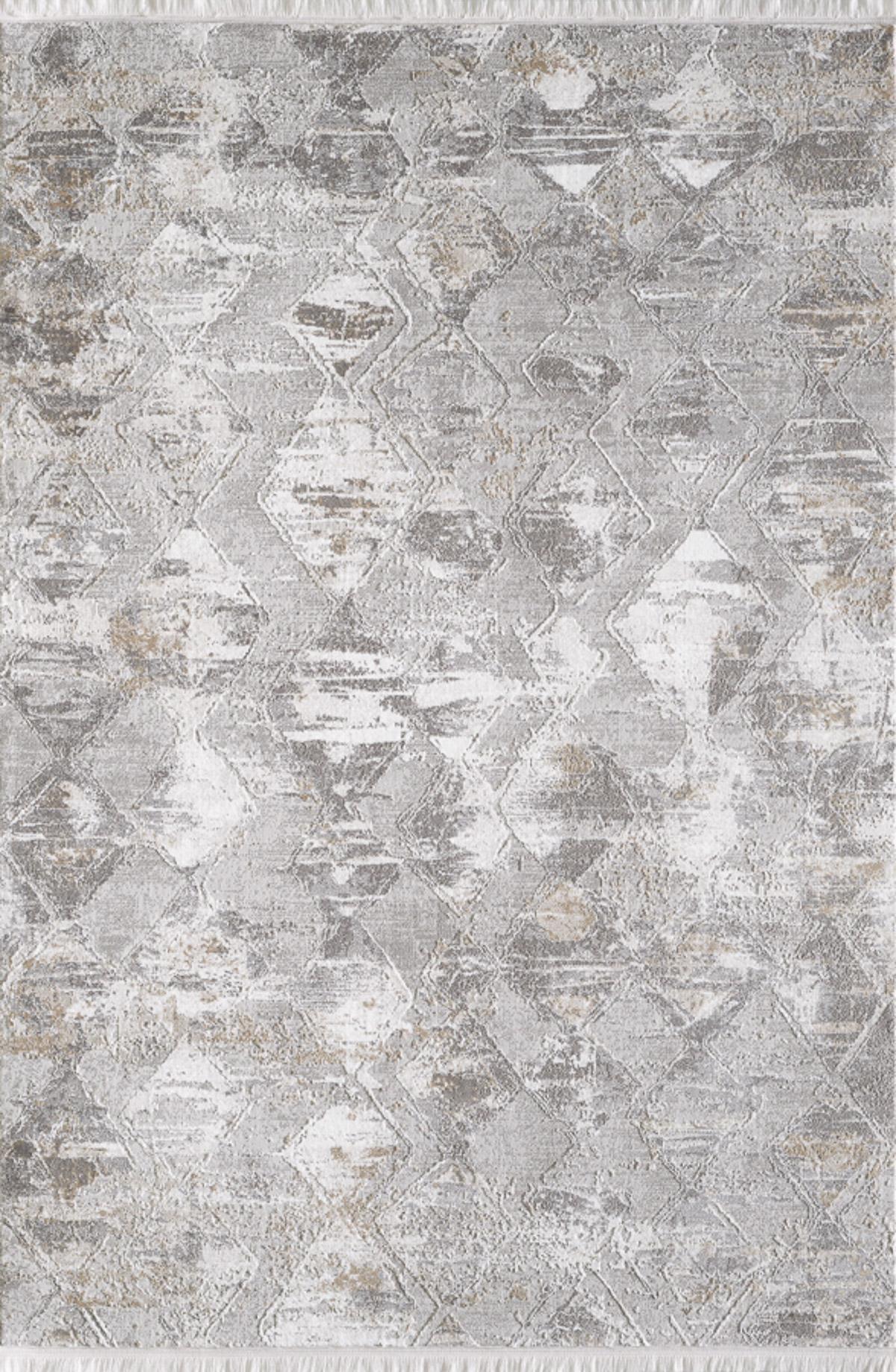 Tapis vintage motif géométrique abstrait avec franges beige 240x340cm