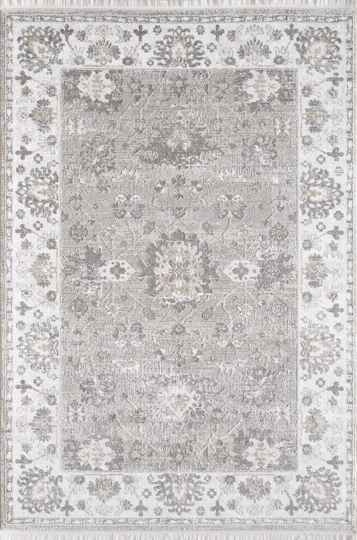 Tapis vintage motif fleuris avec franges beige 200x290