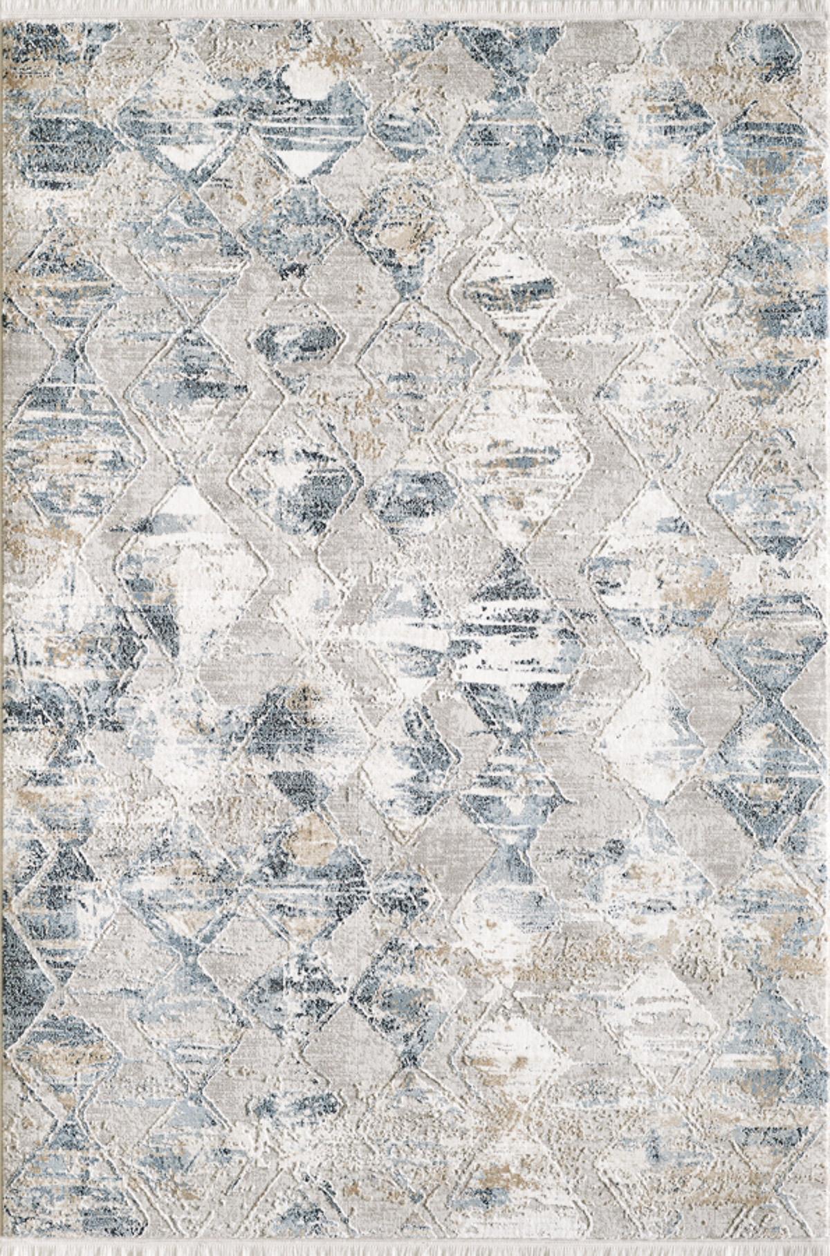 Tapis vintage motif géométrique abstrait avec franges bleu 200x290cm