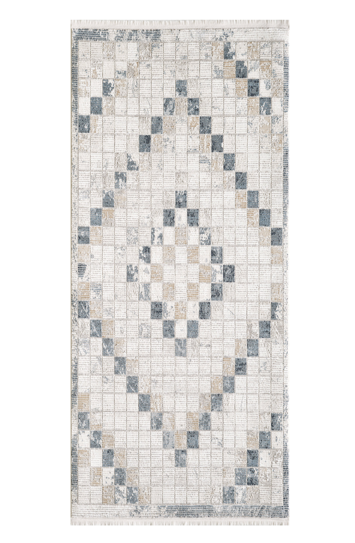 Tapis vintage motif géométriques avec franges beige 160x230