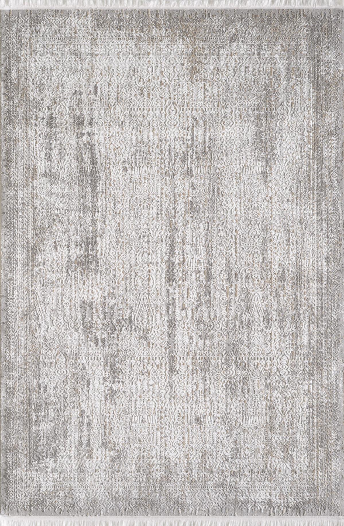 Tapis vintage motif abstrait à relief avec franges beige 120x170cm