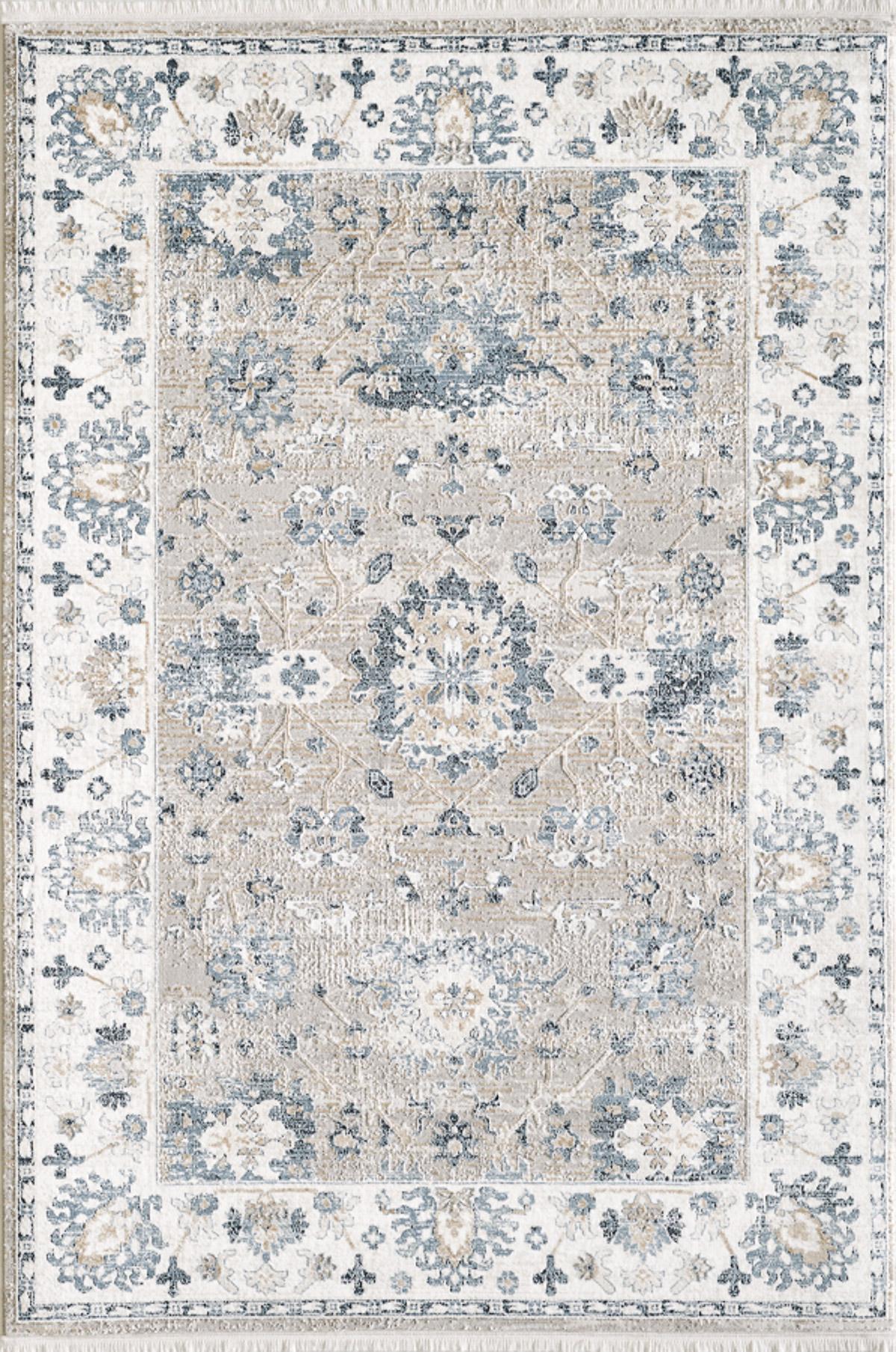 Tapis vintage motif fleuris avec franges bleu 200x290