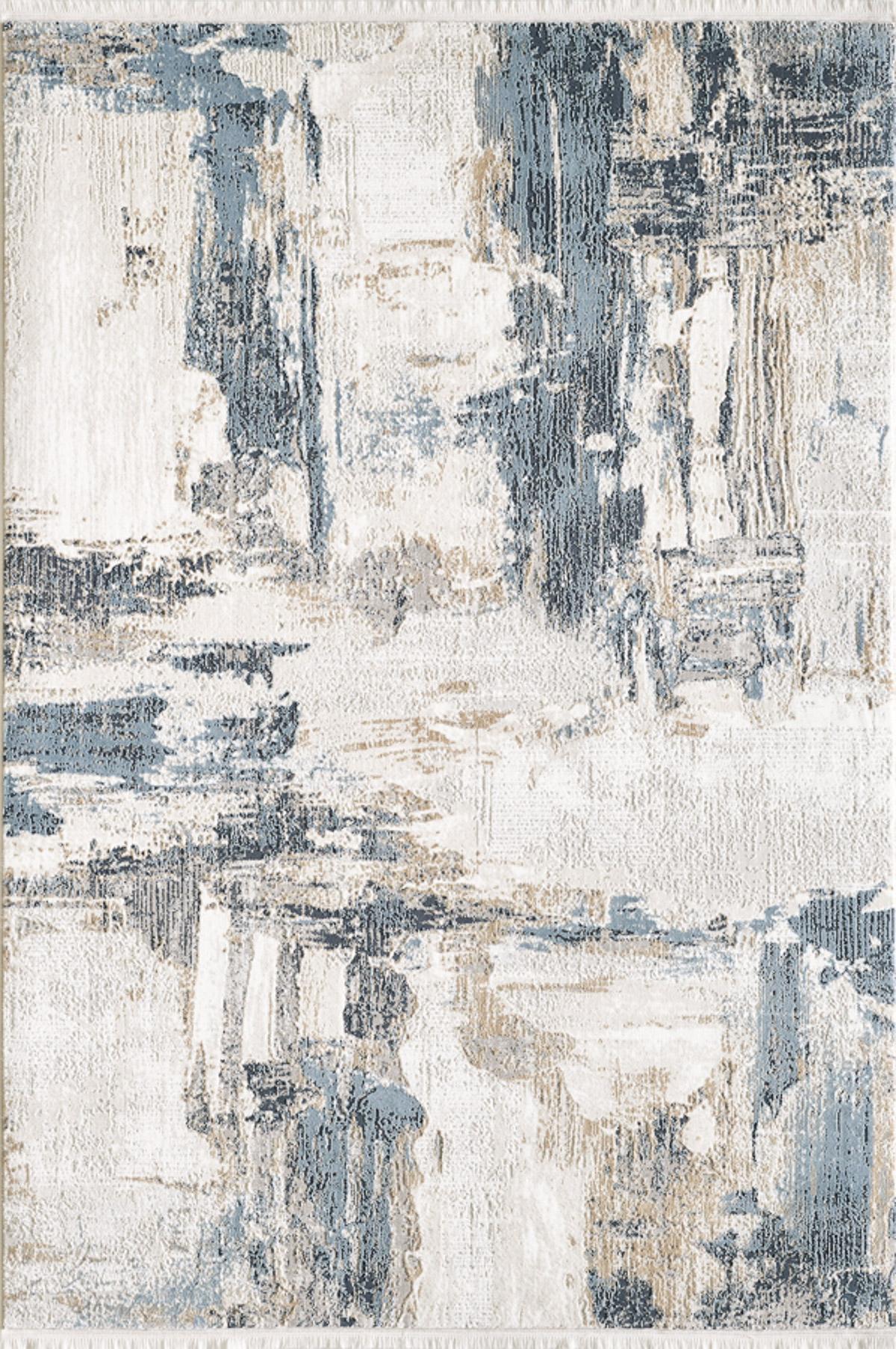 Tapis vintage motif abstrait avec franges bleu 120x170