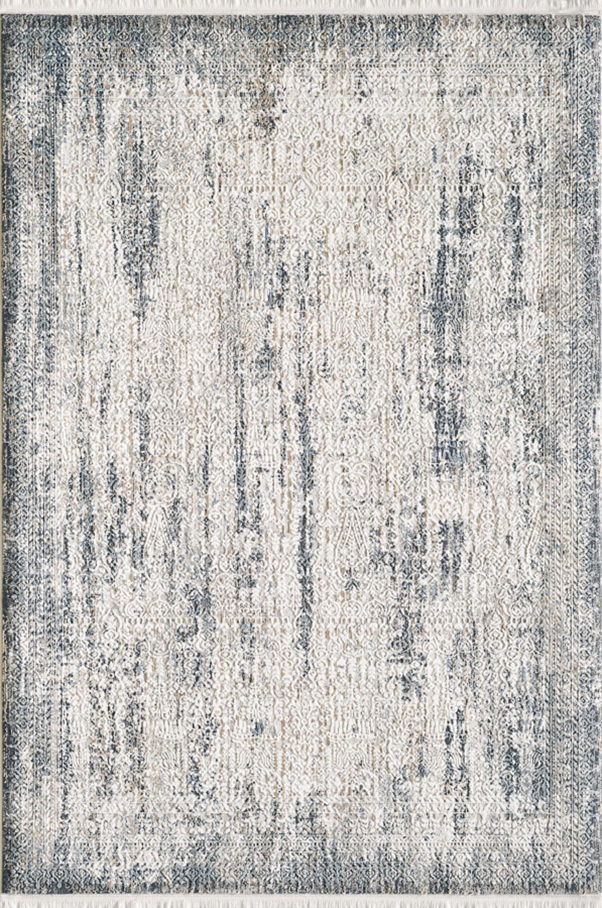 Tapis vintage motif abstrait à relief avec franges bleu 160x230cm