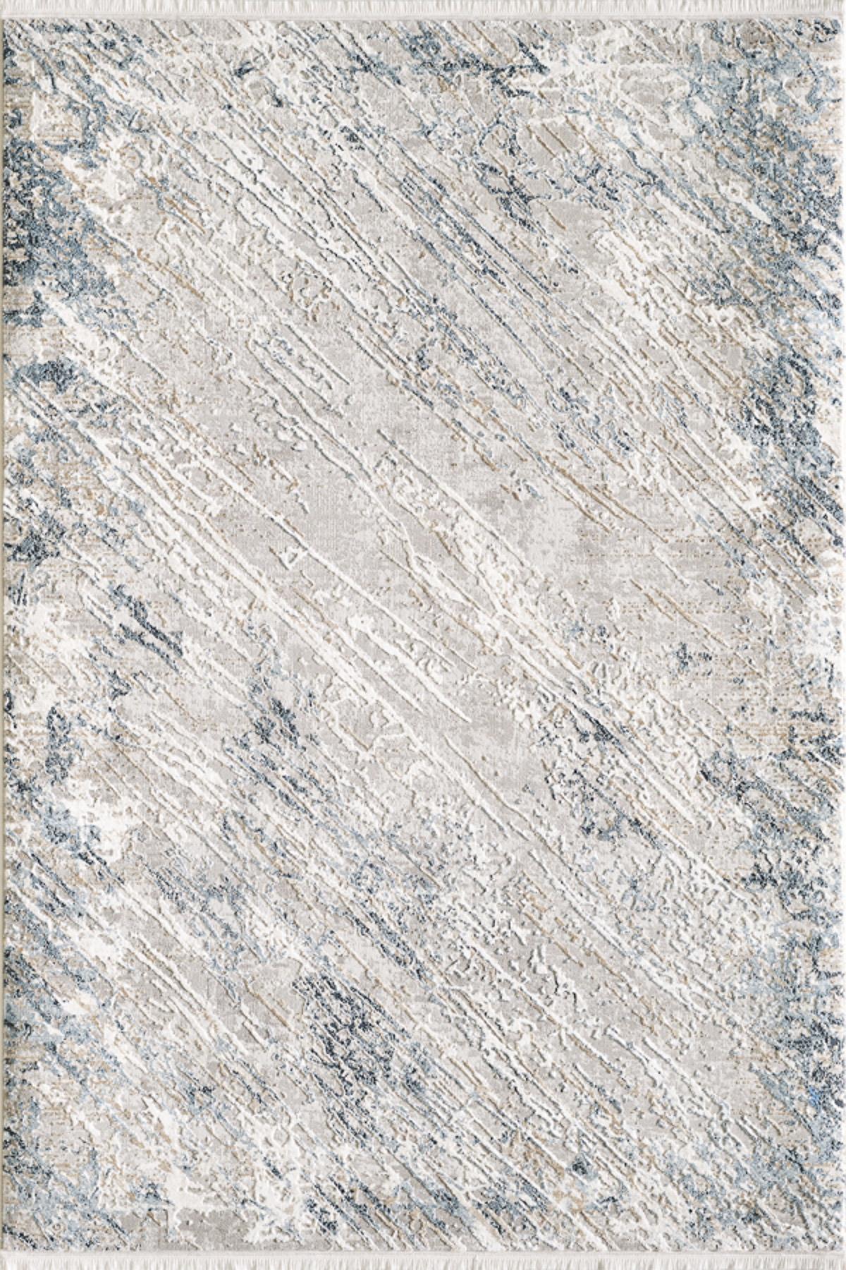 Tapis vintage motif abstrait avec franges bleu 240x340cm