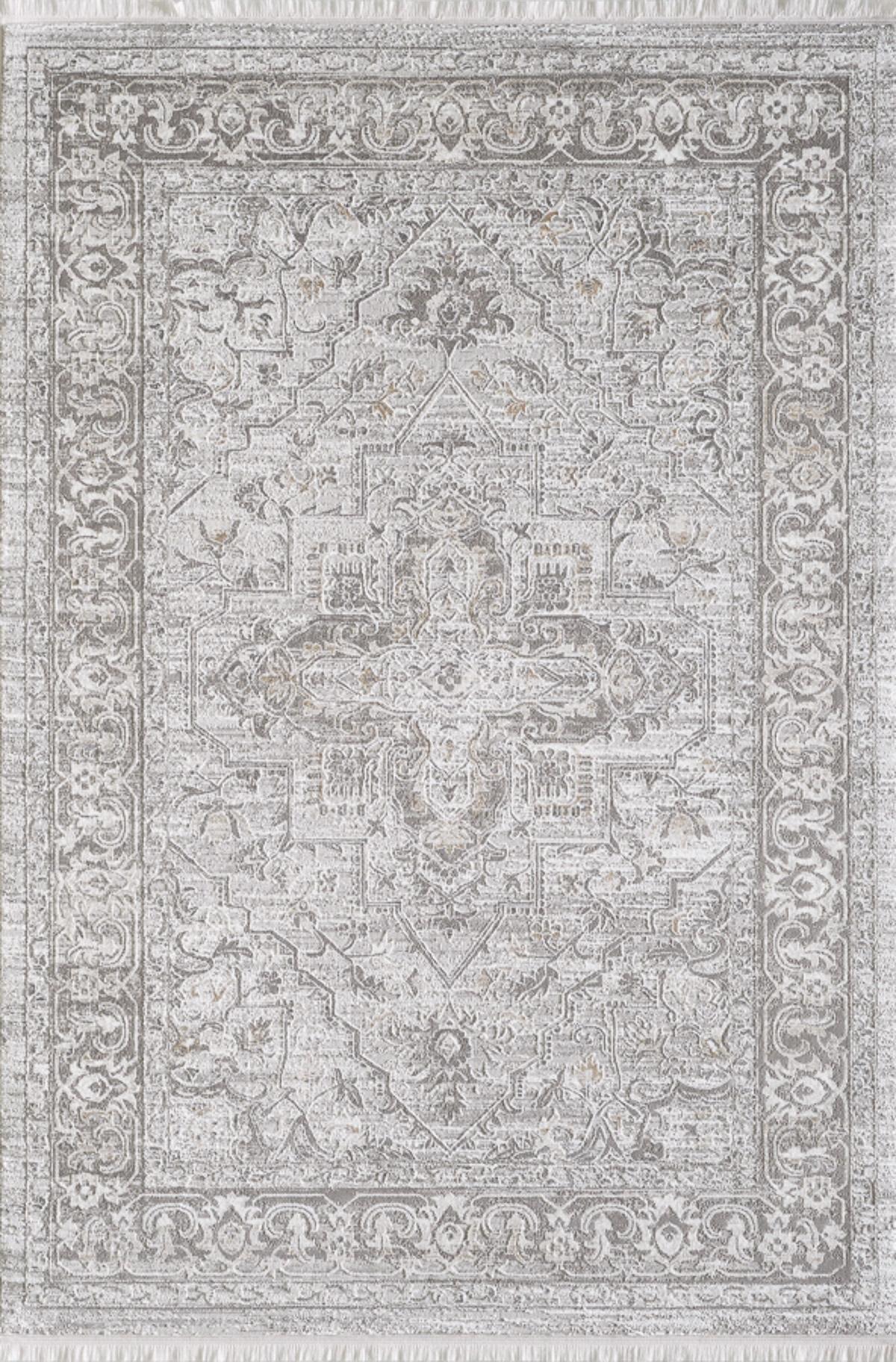 Tapis vintage motif d'antan avec franges beige 120x170