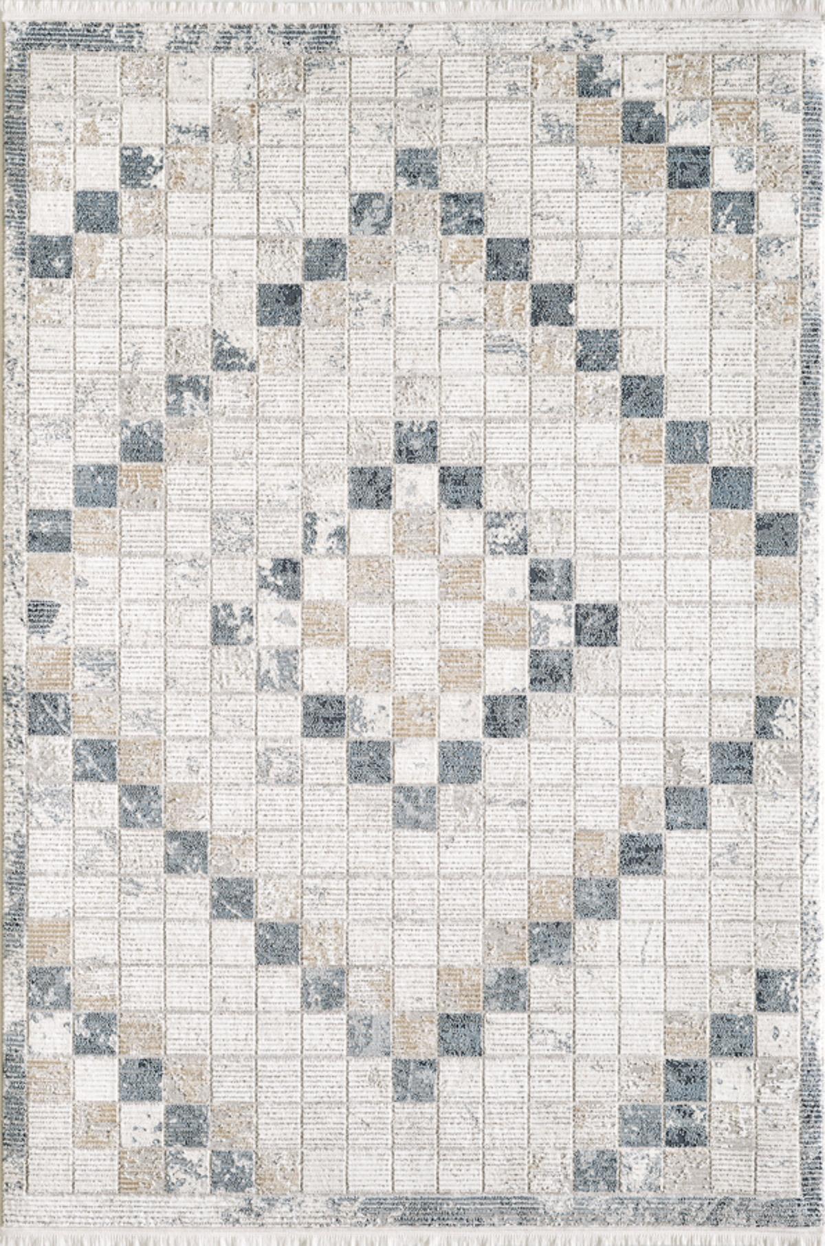 Tapis vintage motif géométriques  avec franges bleu 120x170