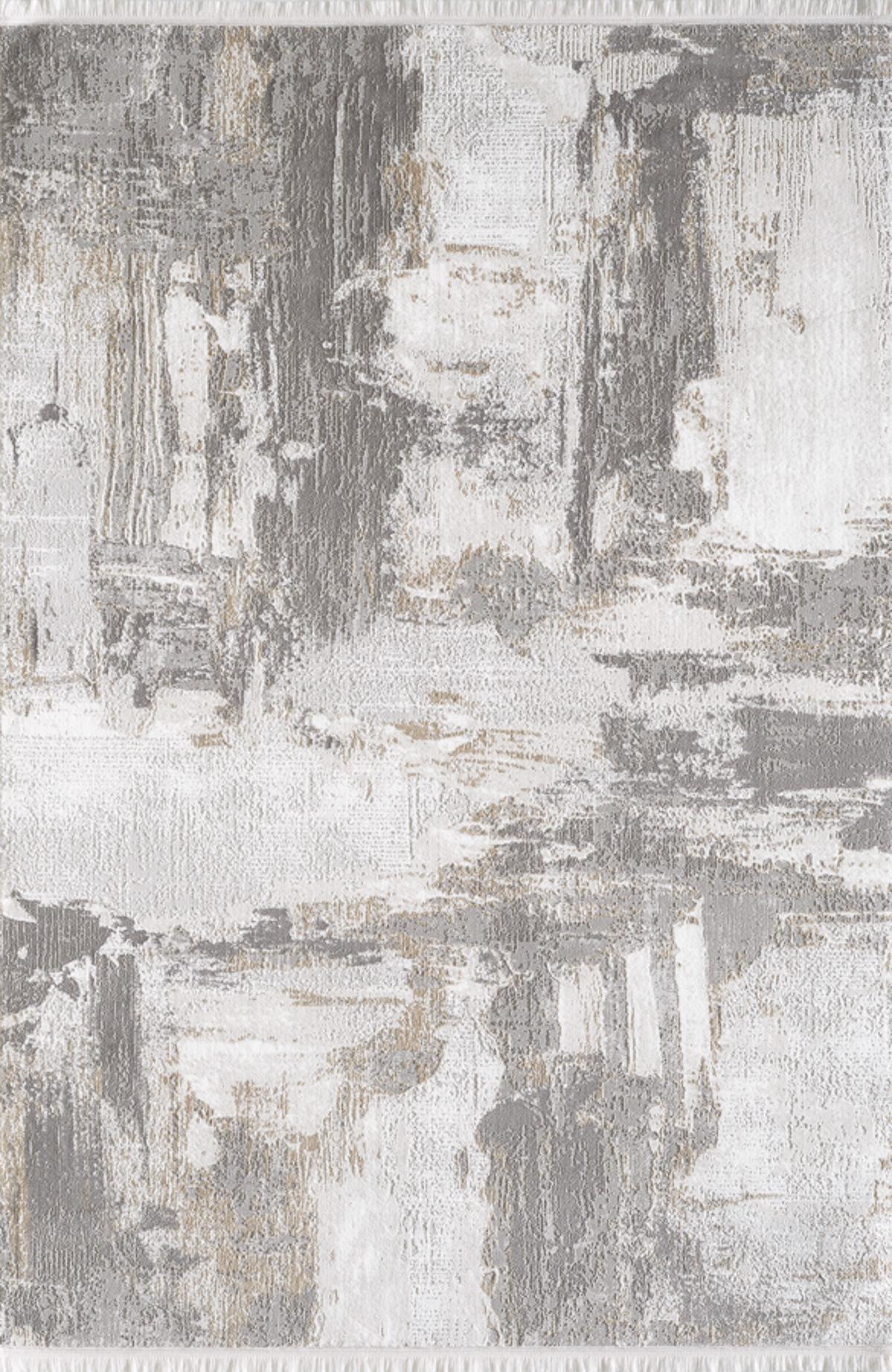 Tapis vintage motif abstrait avec franges beige 200x290