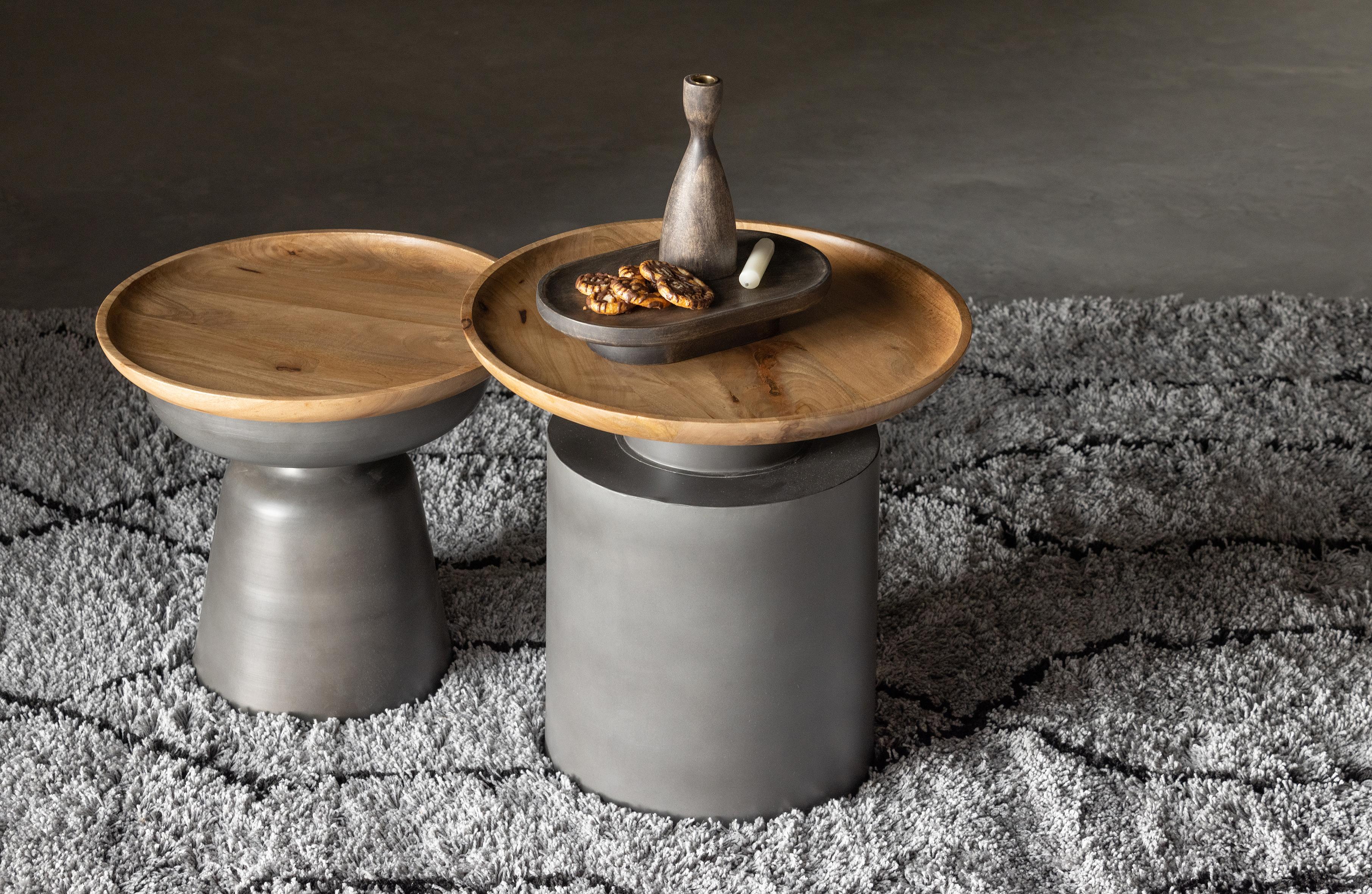 Table basse ronde en bois et métal D53cm noir