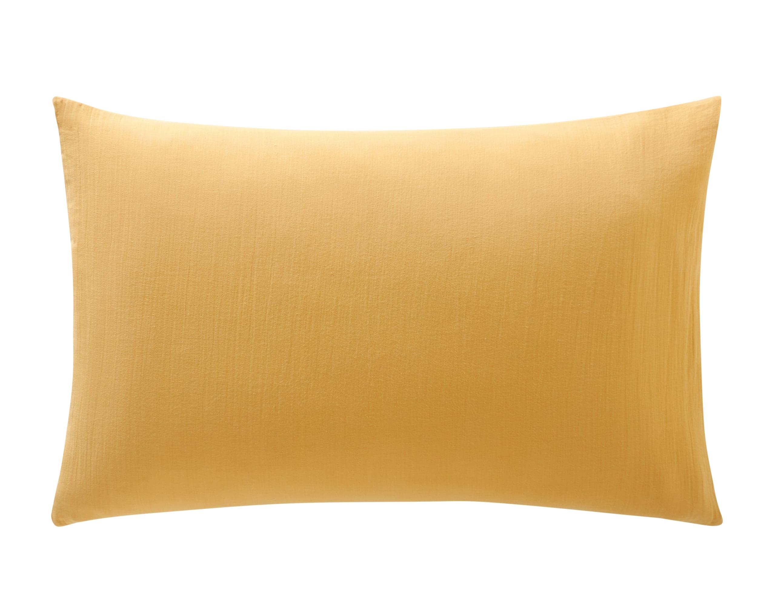 Taie d'oreiller 50x70 jaune en gaze de coton