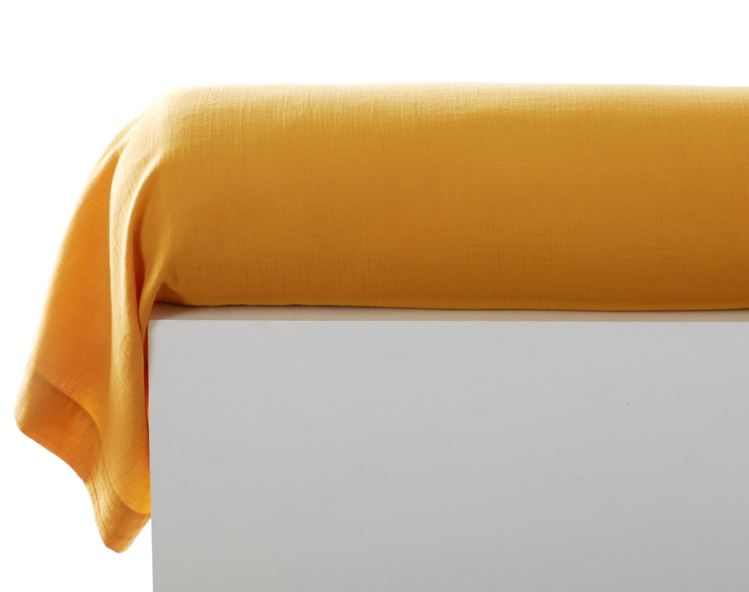 Taie de traversin 43x185 jaune en gaze de coton