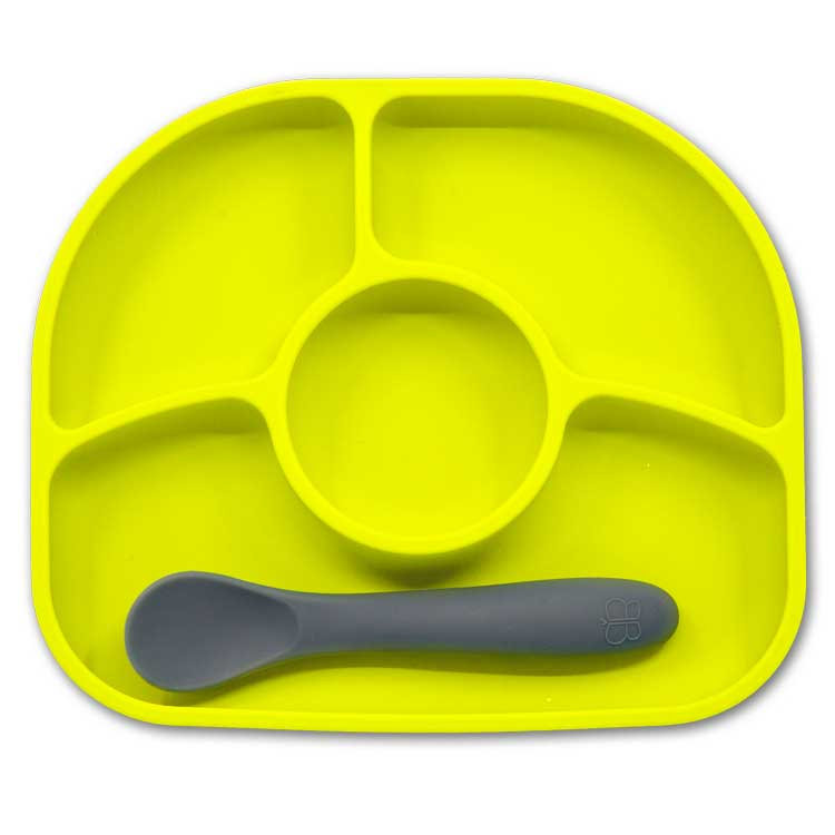 Assiette compartiments ventousée et cuillère en silicone Vert et gris