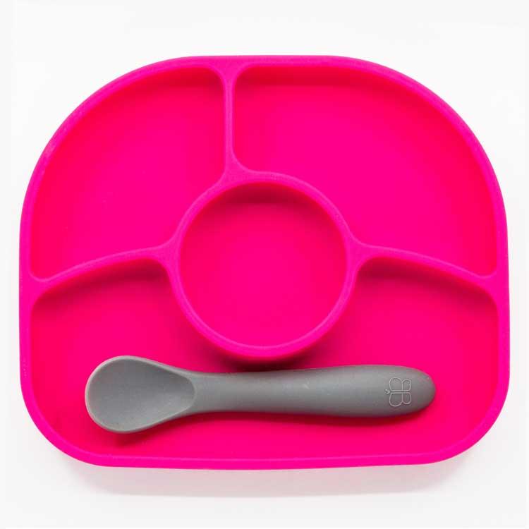 Assiette compartiments ventousée et cuillère en silicone Rose et gris