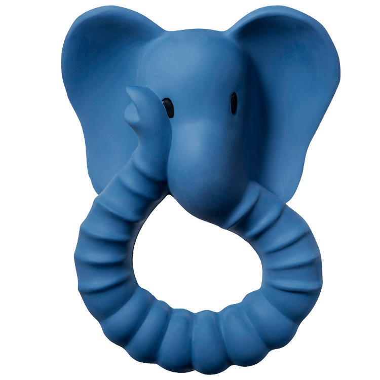 Anneau de dentition en caoutchouc naturel Eléphant Bleu