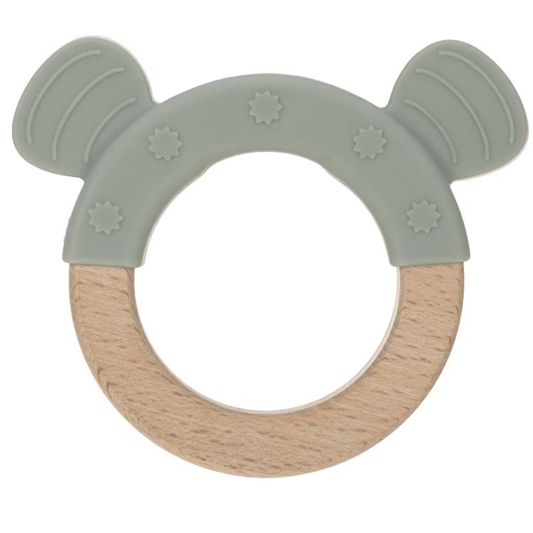 Anneau de dentition en bois et silicone Chat