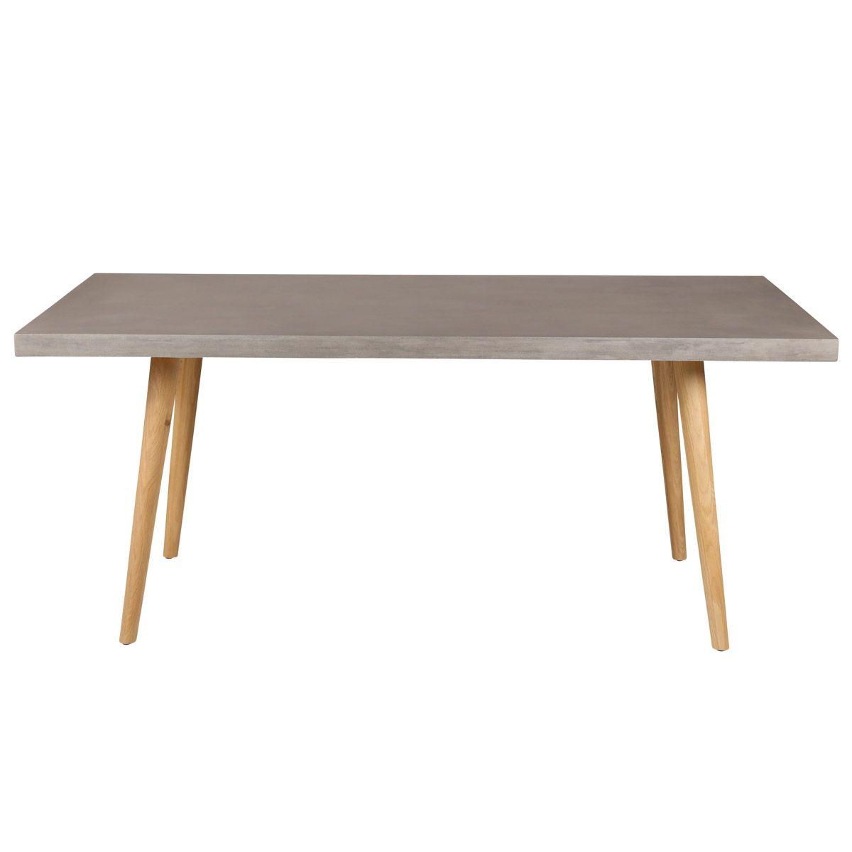 Table repas 180 cm en béton et piétement chêne