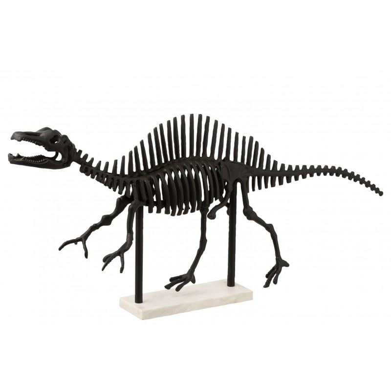 Dinosaure qui court alu/marbre noir/blanc L87cm