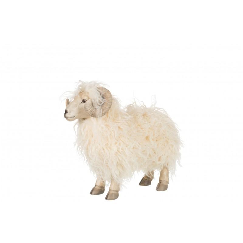 Chèvre en résine beige H33cm