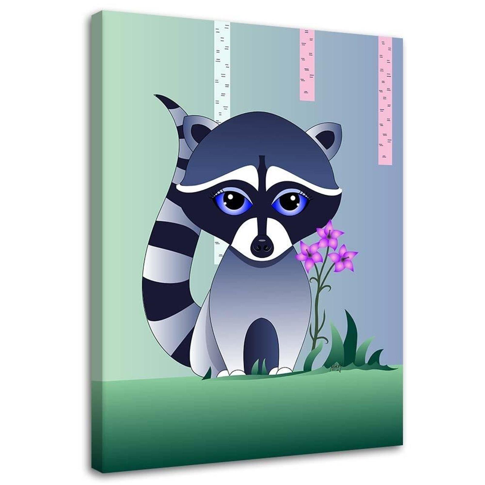 Tableau enfant baby raccoon vert 50x70