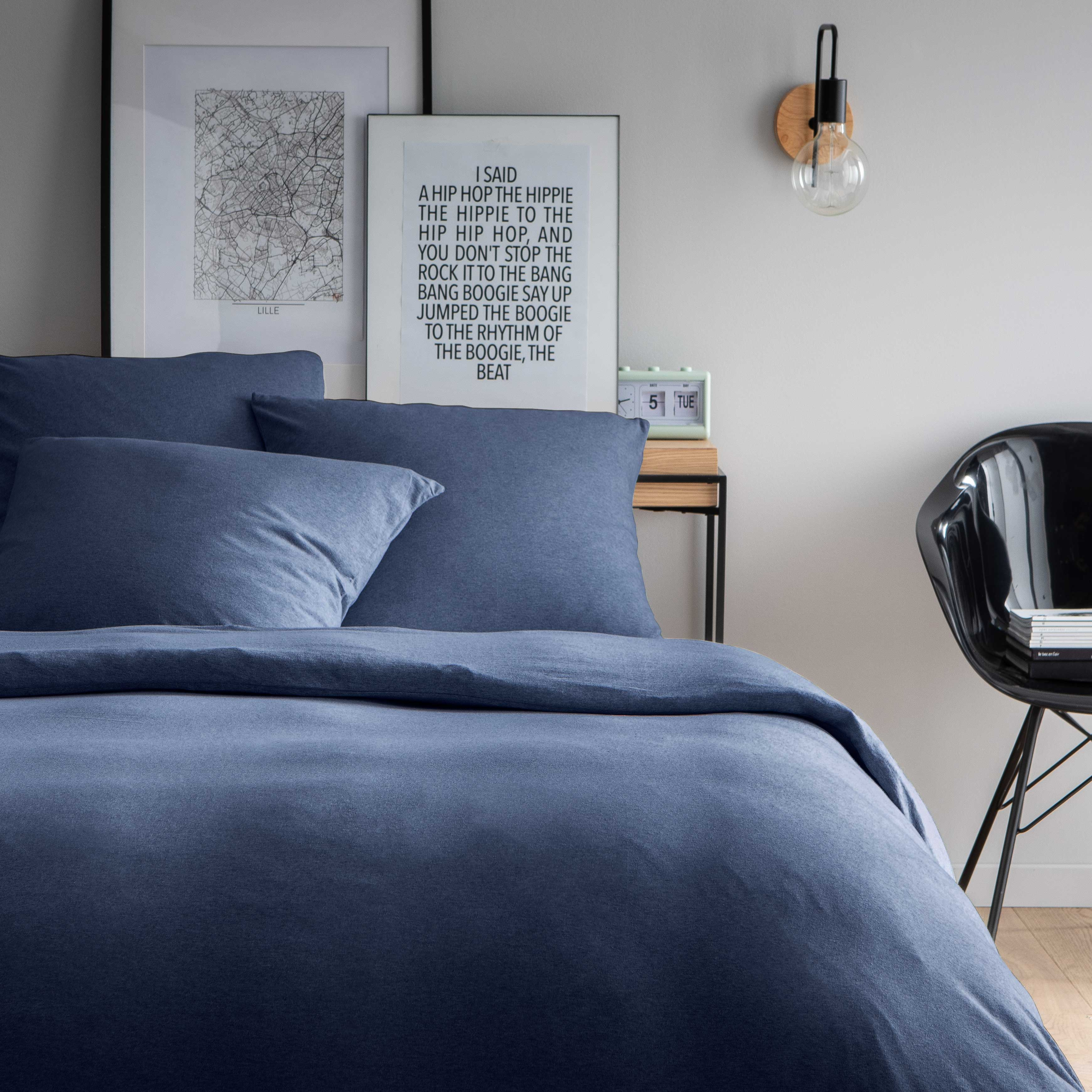 Parure de lit unie en jersey de coton 140x200 cm