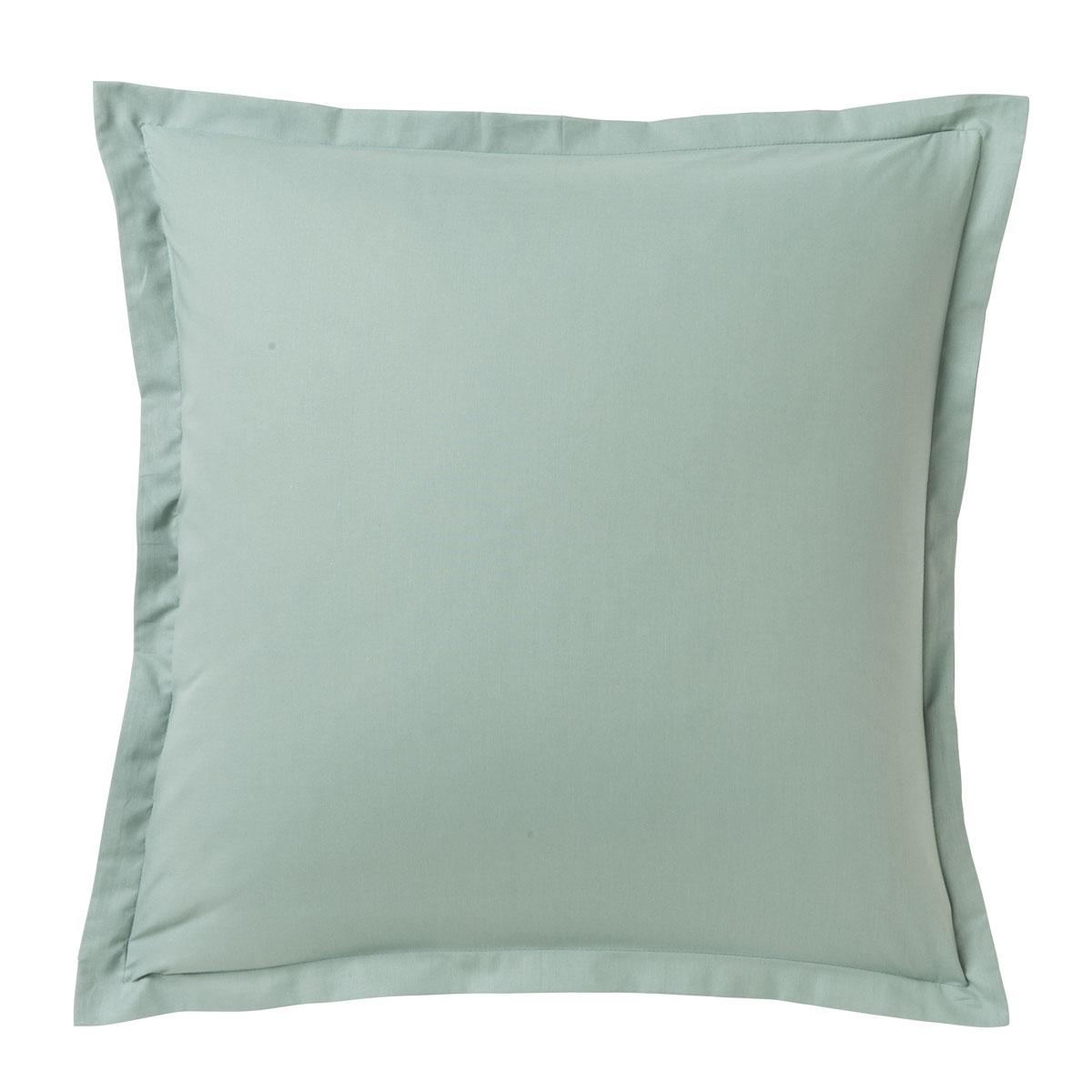 Taie d'oreiller unie en coton vert de gris 63x63