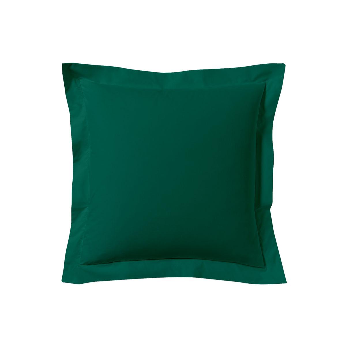 Taie d'oreiller unie en coton vert opale 63x63