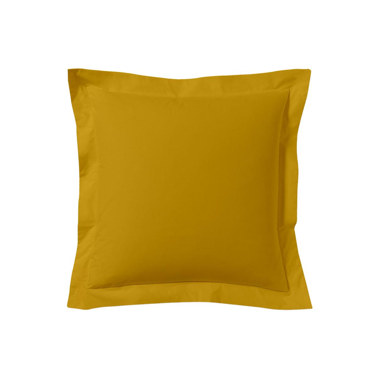 Taie d'oreiller unie en coton jaune curry 63x63