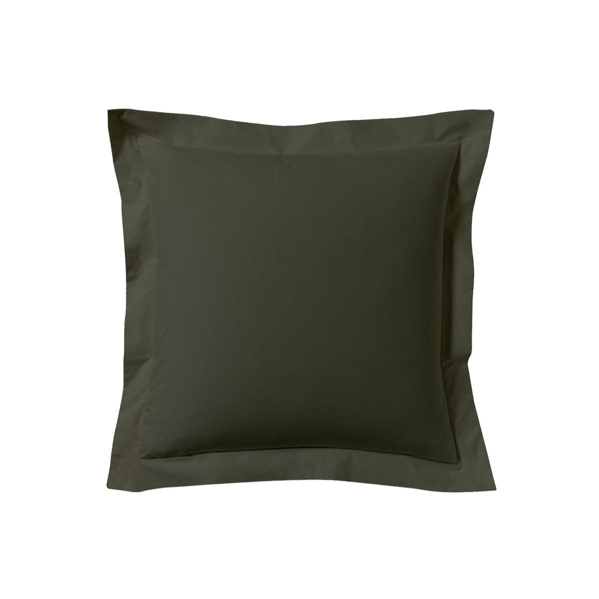 Taie d'oreiller unie en coton gris 63x63