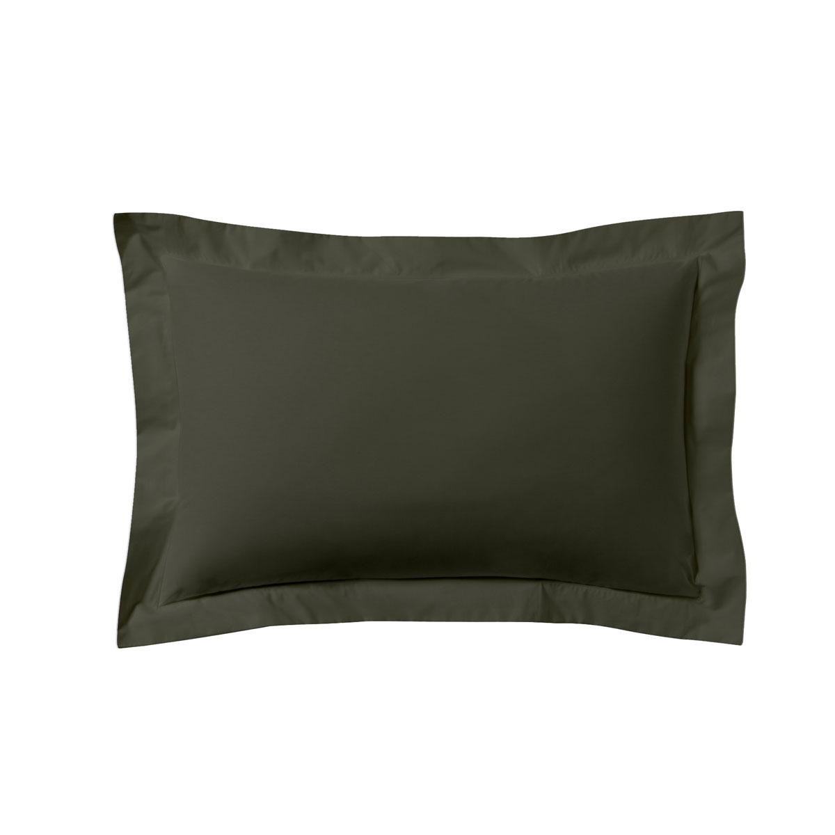 Taie d'oreiller unie en coton gris 50x70
