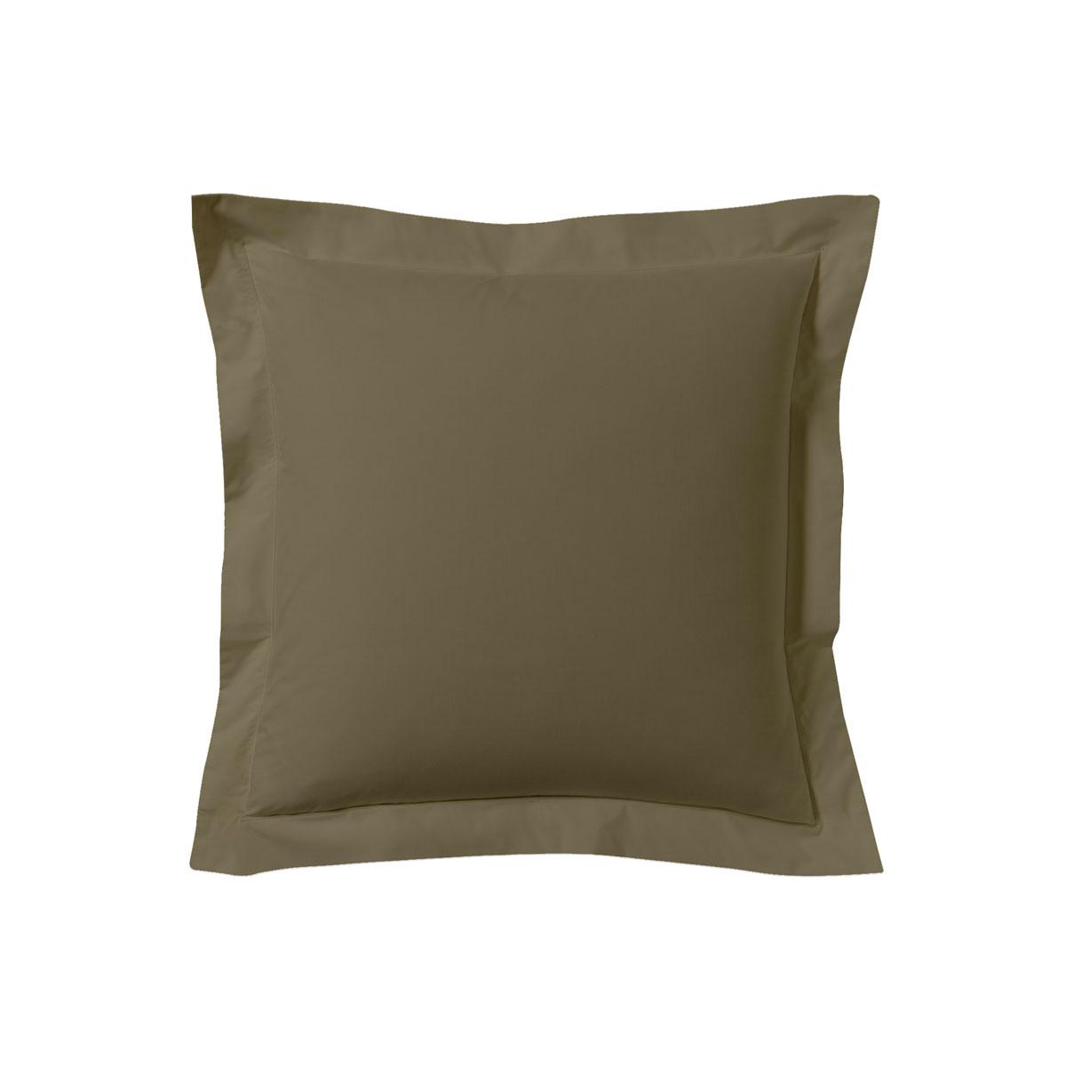 Taie d'oreiller unie en coton pralin 63x63