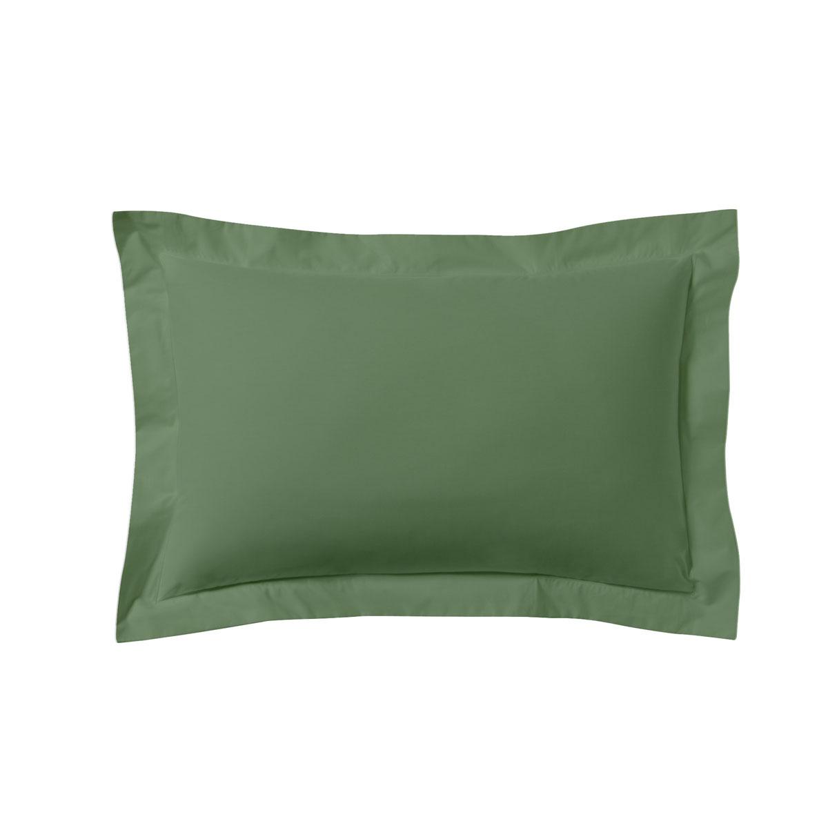 Taie d'oreiller unie en coton vert de gris 50x70